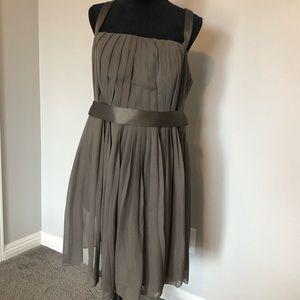 Vera Wang white, dark grey dress